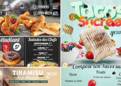 tacos sucre - texmex - menu etudiant - dessert - salade